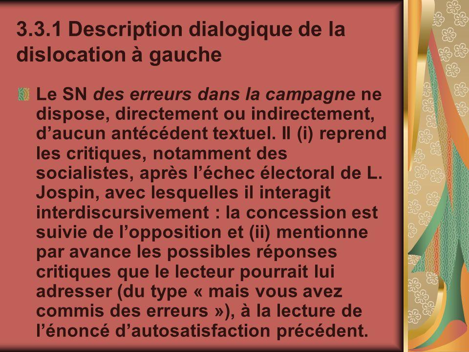 3.3.1 Description dialogique de la dislocation à gauche Le SN des erreurs dans la campagne ne dispose, directement ou indirectement, daucun antécédent