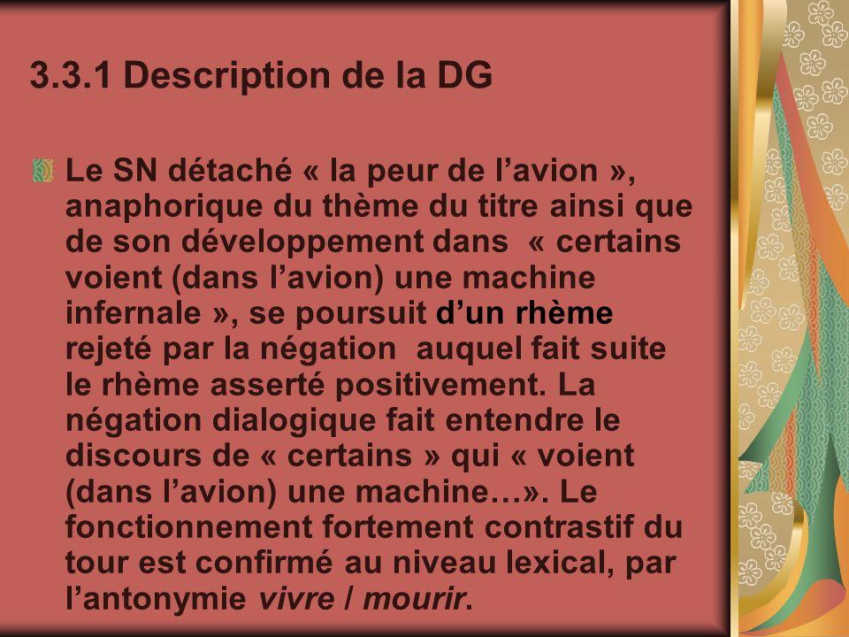 3.3.1 Description de la DG Le SN détaché « la peur de lavion », anaphorique du thème du titre ainsi que de son développement dans « certains voient (d