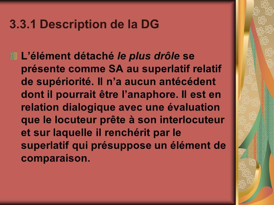 3.3.1 Description de la DG Lélément détaché le plus drôle se présente comme SA au superlatif relatif de supériorité. Il na aucun antécédent dont il po