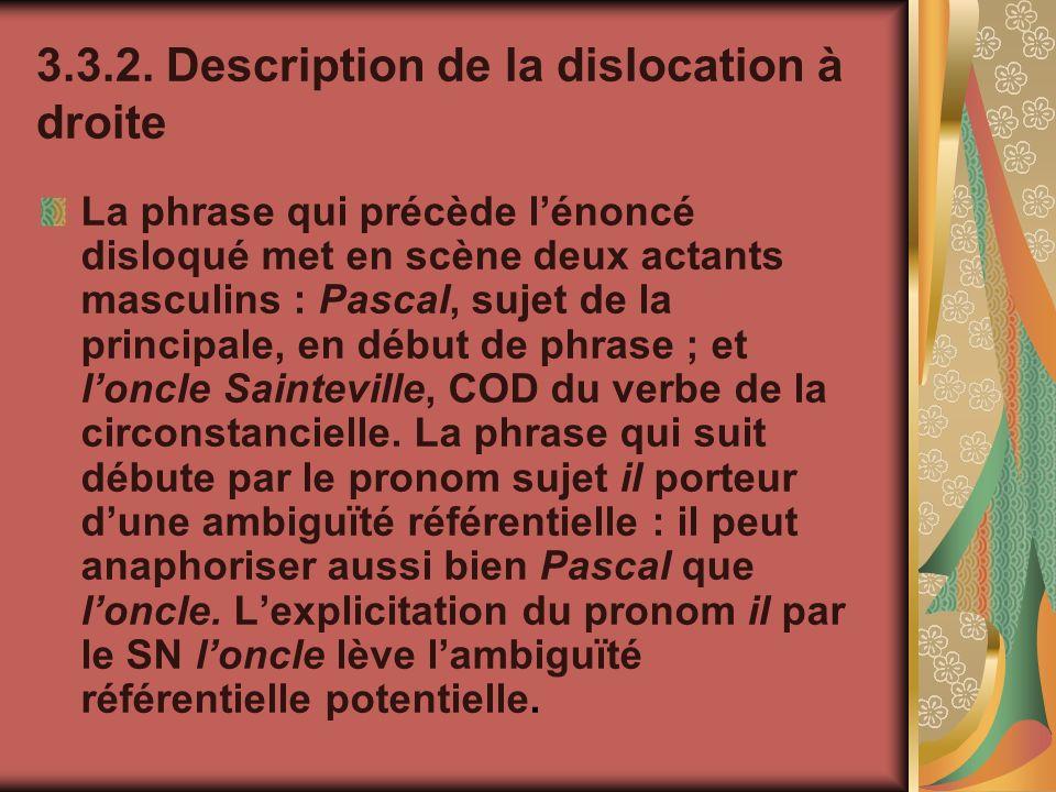 3.3.2. Description de la dislocation à droite La phrase qui précède lénoncé disloqué met en scène deux actants masculins : Pascal, sujet de la princip