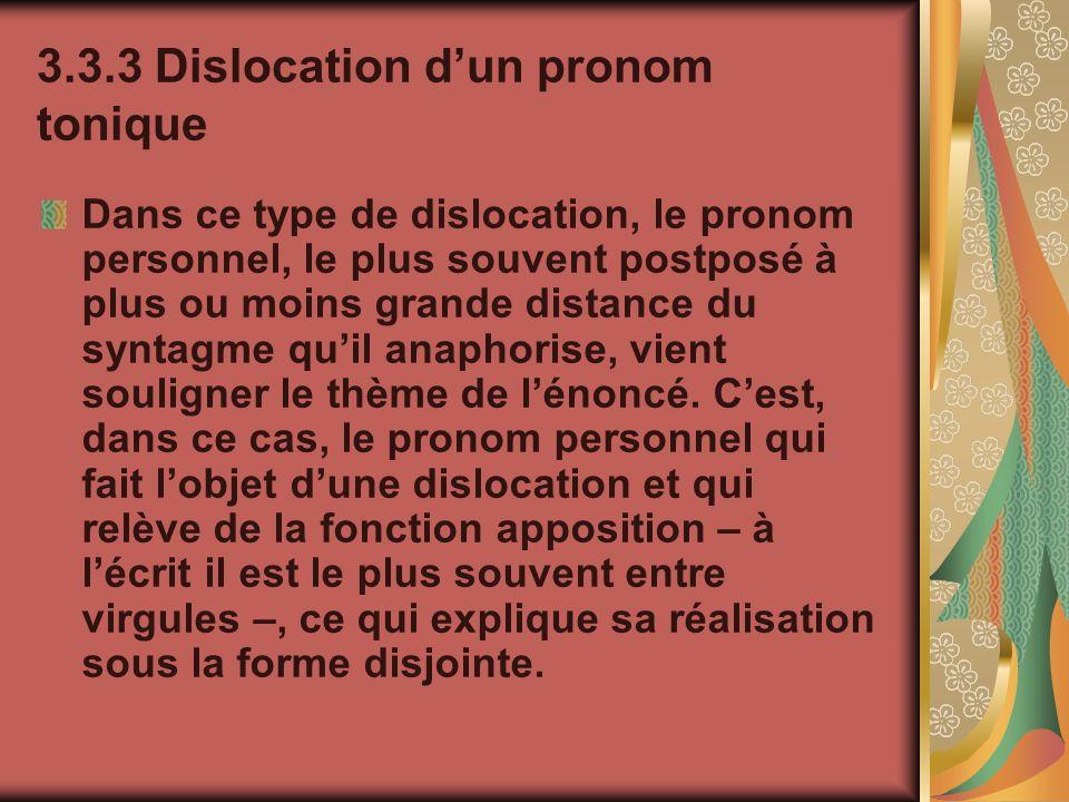 3.3.3 Dislocation dun pronom tonique Dans ce type de dislocation, le pronom personnel, le plus souvent postposé à plus ou moins grande distance du syn