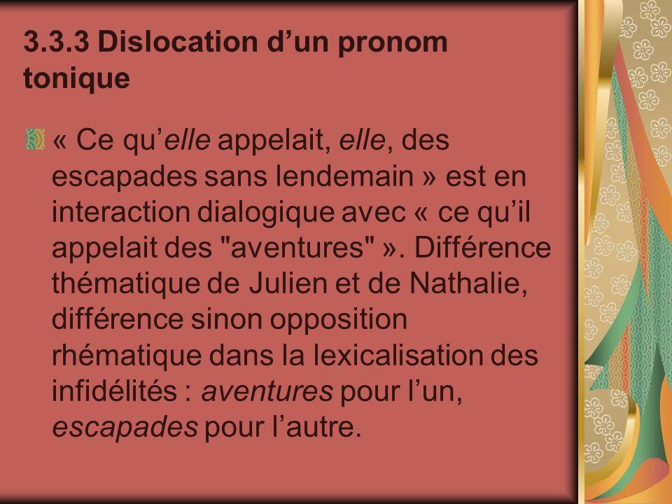 3.3.3 Dislocation dun pronom tonique « Ce quelle appelait, elle, des escapades sans lendemain » est en interaction dialogique avec « ce quil appelait