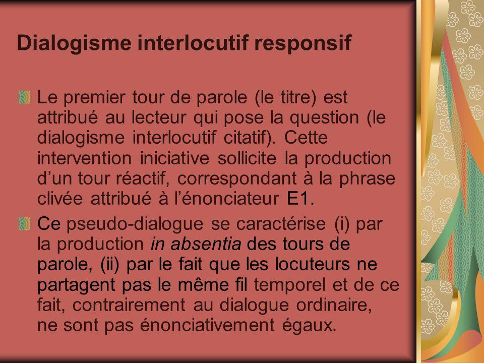 Dialogisme interlocutif responsif Le premier tour de parole (le titre) est attribué au lecteur qui pose la question (le dialogisme interlocutif citati