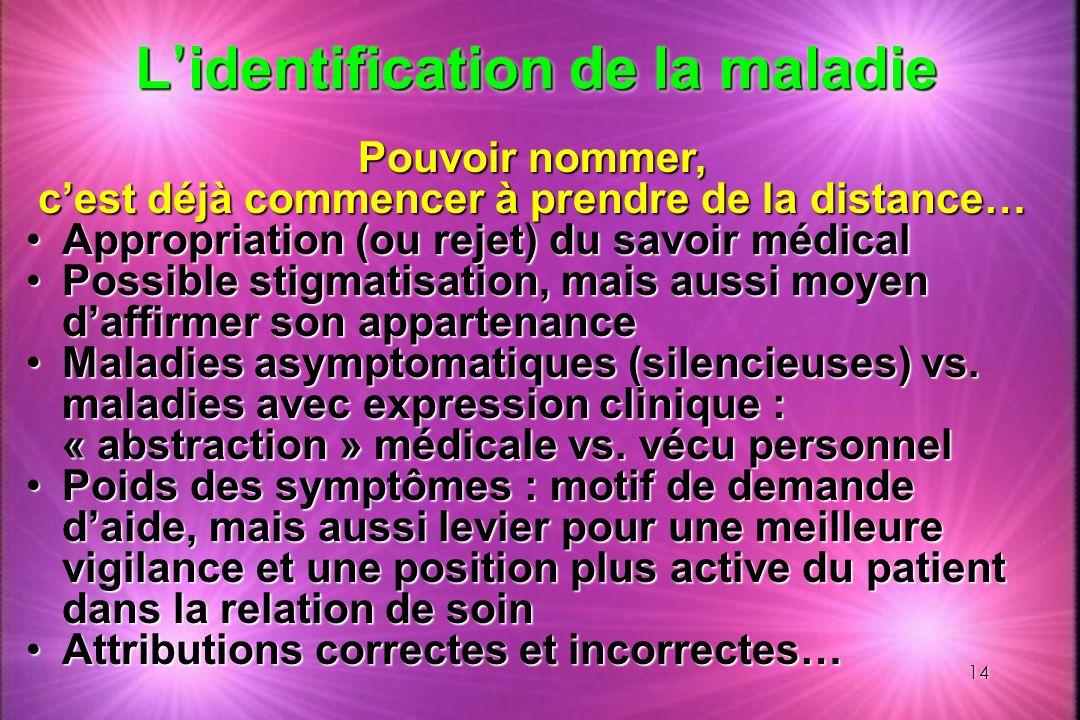 14 L identification de la maladie Pouvoir nommer, cest déjà commencer à prendre de la distance… Appropriation (ou rejet) du savoir médicalAppropriatio
