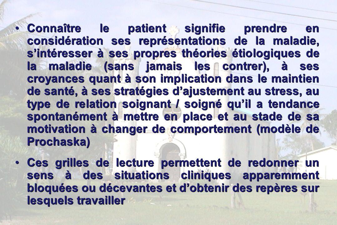 19 Connaître le patient signifie prendre en considération ses représentations de la maladie, sintéresser à ses propres théories étiologiques de la mal
