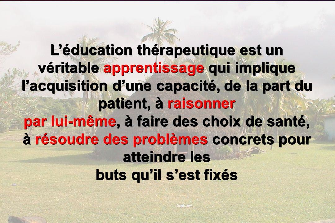 21 Léducation thérapeutique est un véritable apprentissage qui implique lacquisition dune capacité, de la part du patient, à raisonner par lui-même, à