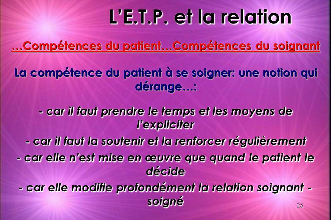 26 LE.T.P. et la relation …Compétences du patient…Compétences du soignant La compétence du patient à se soigner: une notion qui dérange…: - car il fau