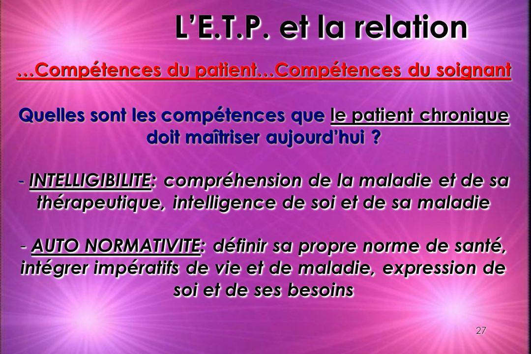 27 LE.T.P. et la relation …Compétences du patient…Compétences du soignant Quelles sont les compétences que le patient chronique doit maîtriser aujourd