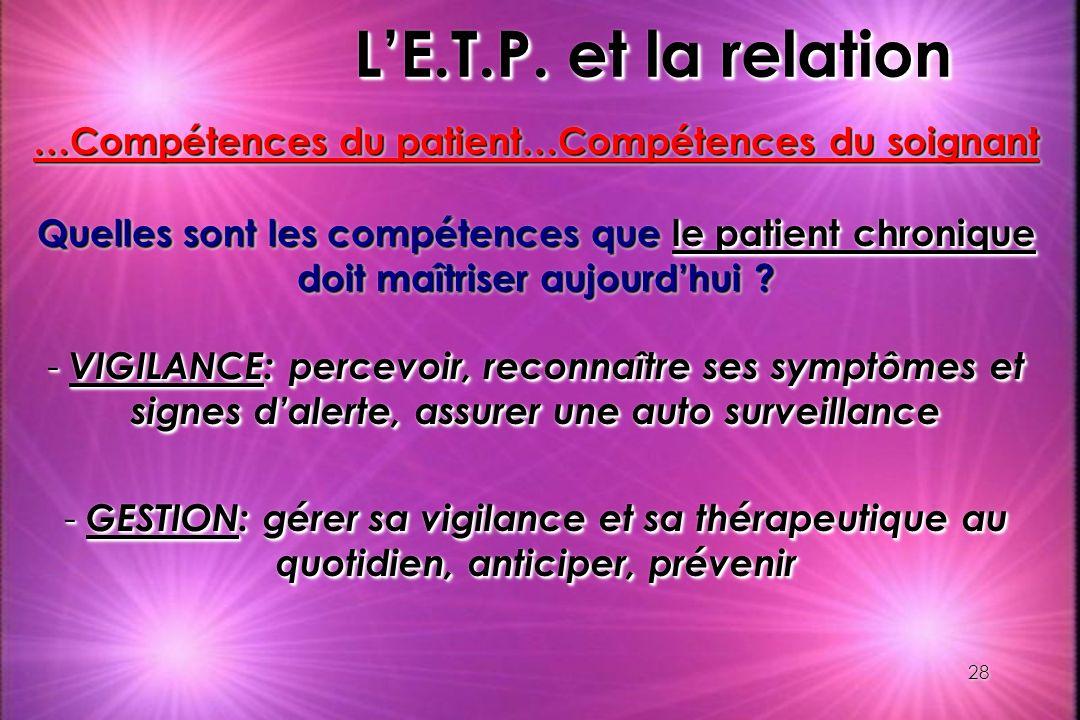 28 LE.T.P. et la relation …Compétences du patient…Compétences du soignant Quelles sont les compétences que le patient chronique doit maîtriser aujourd