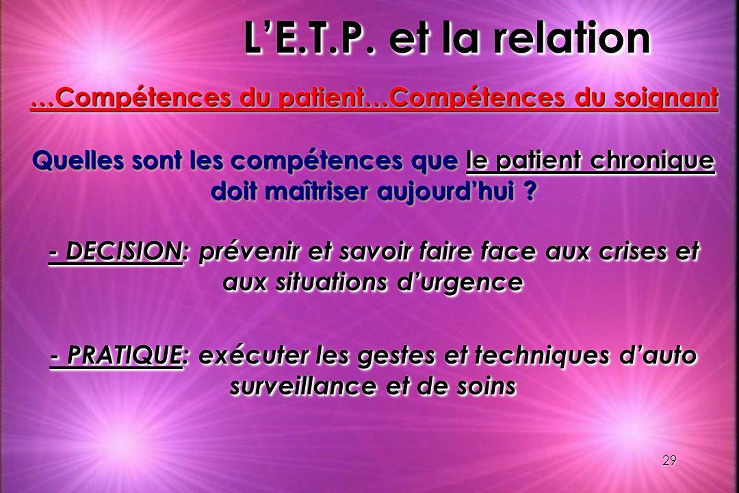 29 LE.T.P. et la relation …Compétences du patient…Compétences du soignant Quelles sont les compétences que le patient chronique doit maîtriser aujourd