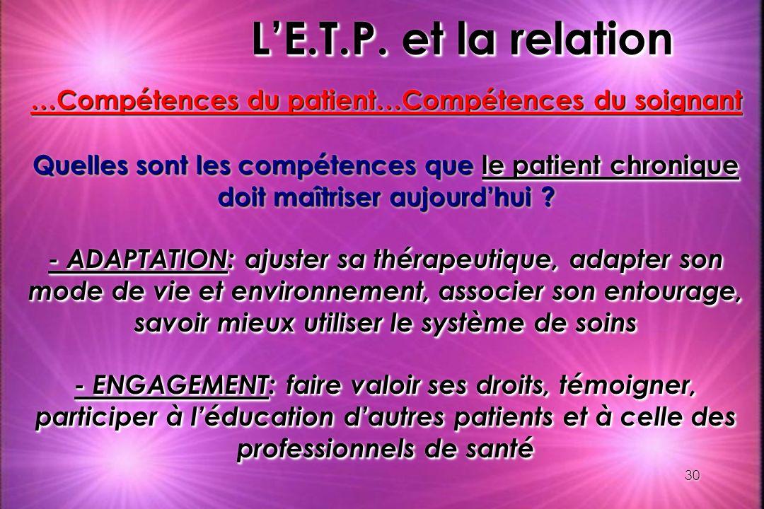 30 LE.T.P. et la relation …Compétences du patient…Compétences du soignant Quelles sont les compétences que le patient chronique doit maîtriser aujourd