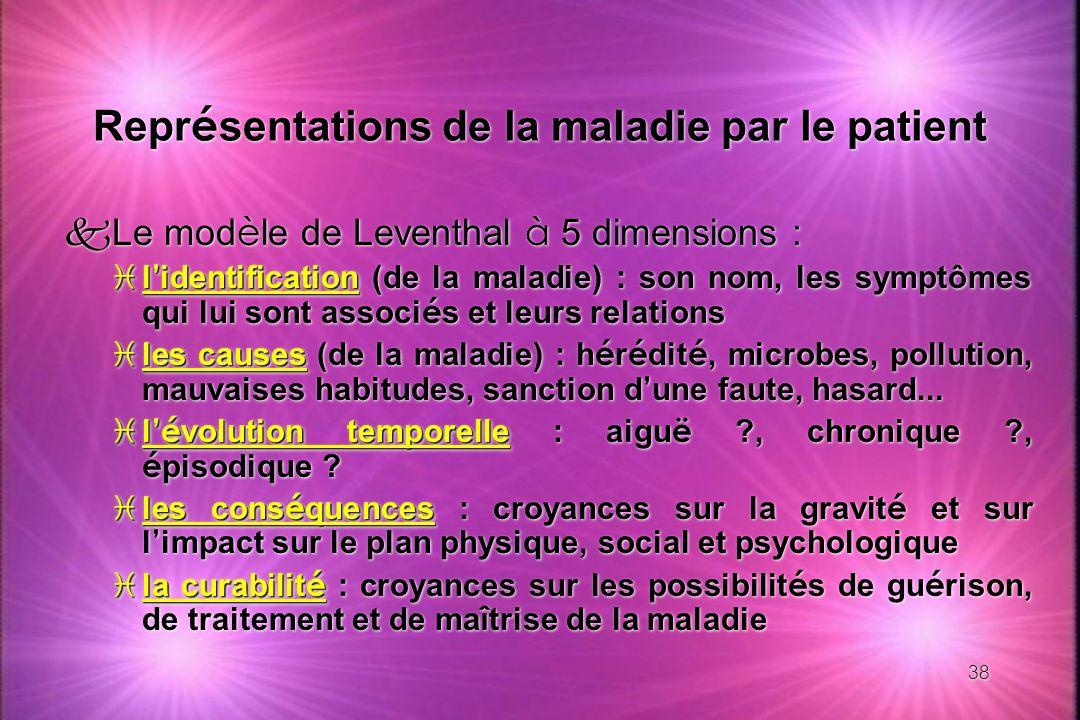 38 Repr é sentations de la maladie par le patient Le mod è le de Leventhal à 5 dimensions : l identification l identification (de la maladie) : son no