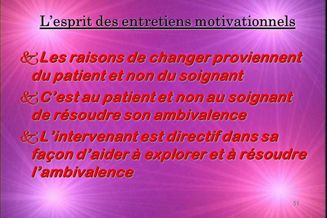51 Lesprit des entretiens motivationnels kLes raisons de changer proviennent du patient et non du soignant kCest au patient et non au soignant de réso