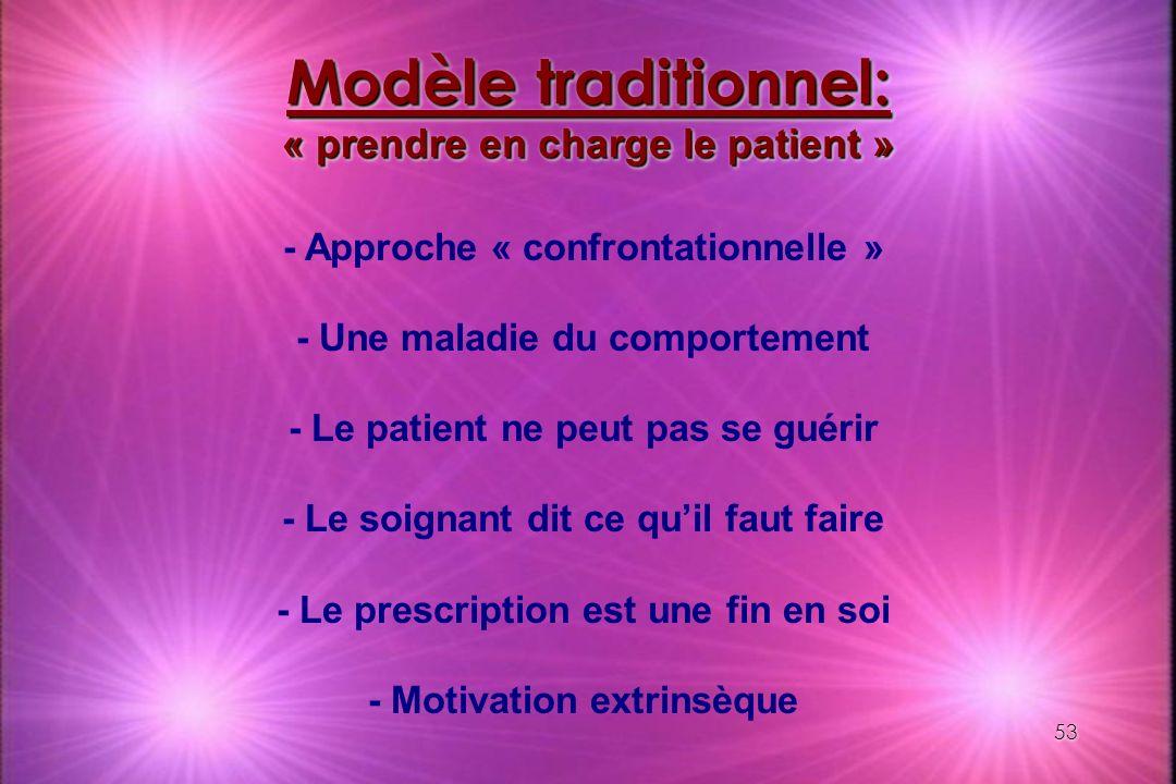 53 Modèle traditionnel: « prendre en charge le patient » - Approche « confrontationnelle » - Une maladie du comportement - Le patient ne peut pas se g