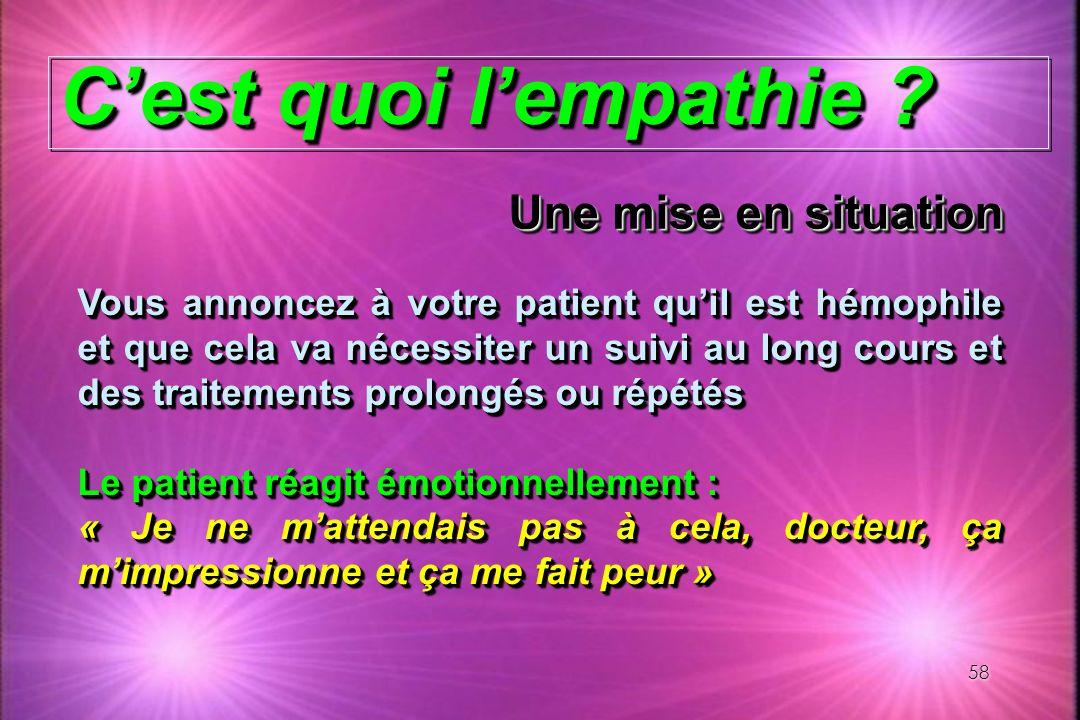 58 Cest quoi lempathie ? Vous annoncez à votre patient quil est hémophile et que cela va nécessiter un suivi au long cours et des traitements prolongé
