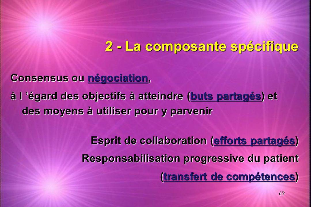 69 2 - La composante spécifique Consensus ou négociation, à l égard des objectifs à atteindre (buts partagés) et des moyens à utiliser pour y parvenir