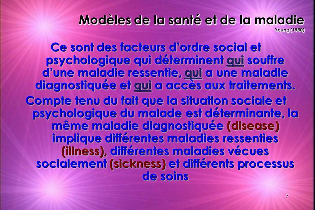 7 Modèles de la santé et de la maladie Young (1980) Ce sont des facteurs dordre social et psychologique qui déterminent qui souffre dune maladie resse