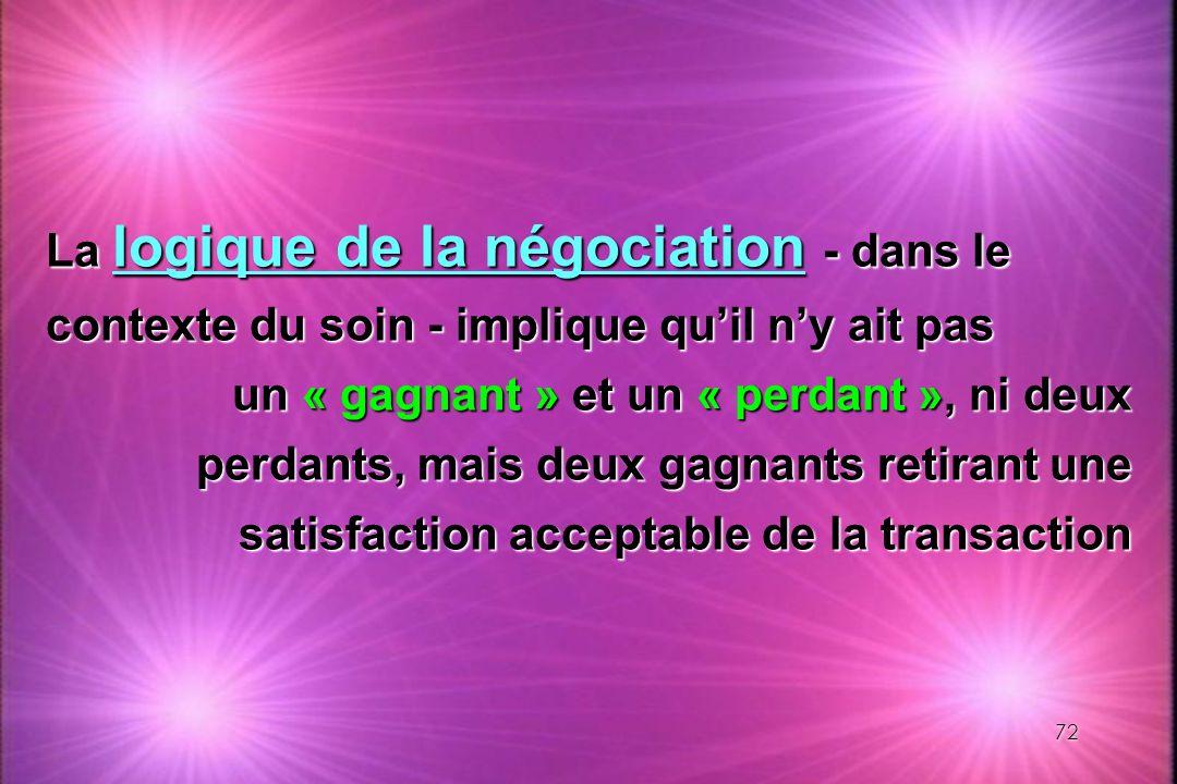 72 La logique de la négociation - dans le contexte du soin - implique quil ny ait pas un « gagnant » et un « perdant », ni deux perdants, mais deux ga