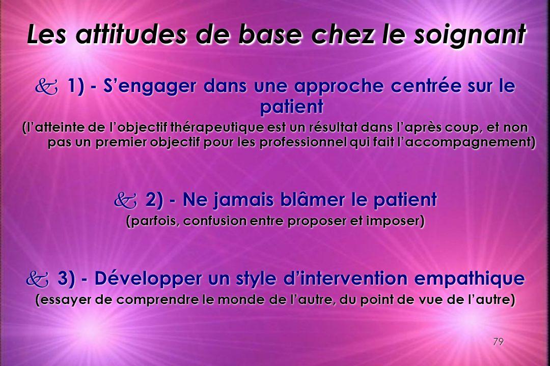 79 Les attitudes de base chez le soignant k 1) - Sengager dans une approche centrée sur le patient (latteinte de lobjectif thérapeutique est un résult