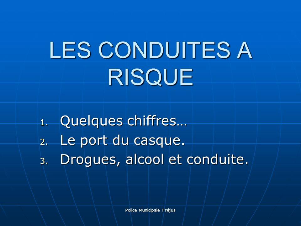 Police Municipale Fréjus LES CONDUITES A RISQUE 1. Q uelques chiffres… 2. L e port du casque. 3. D rogues, alcool et conduite.