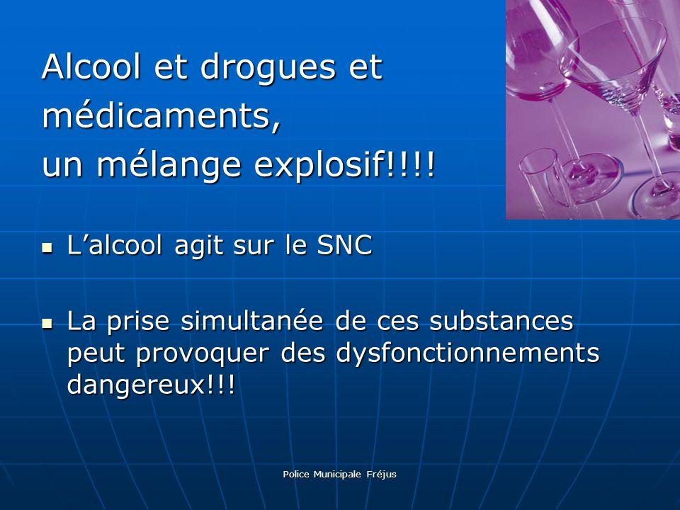 Police Municipale Fréjus Alcool et drogues et médicaments, un mélange explosif!!!! Lalcool agit sur le SNC Lalcool agit sur le SNC La prise simultanée