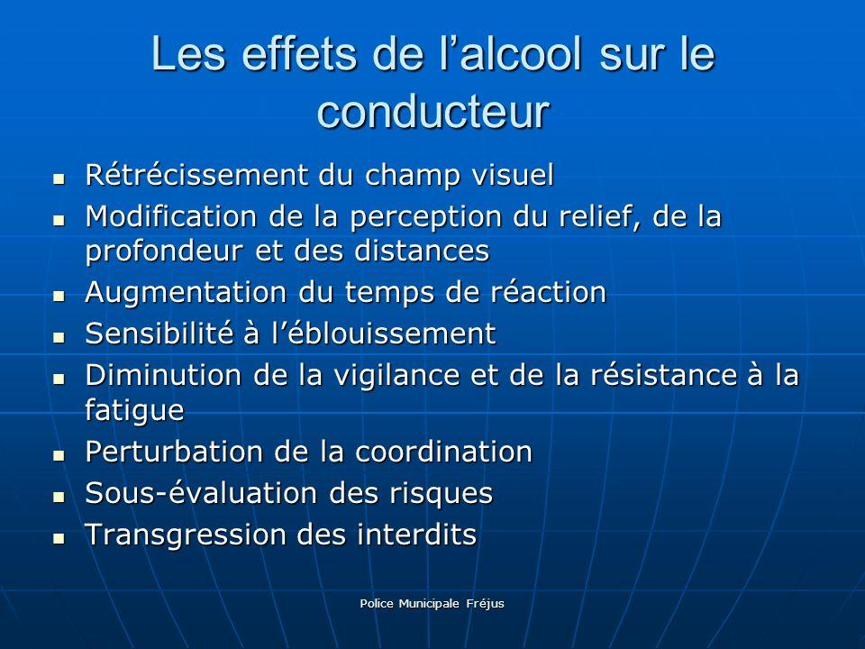 Police Municipale Fréjus Les effets de lalcool sur le conducteur Rétrécissement du champ visuel Modification de la perception du relief, de la profond