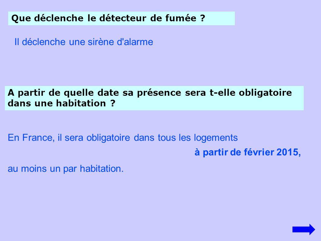 En France, il sera obligatoire dans tous les logements à partir de février 2015, au moins un par habitation. Que déclenche le détecteur de fumée ? Il