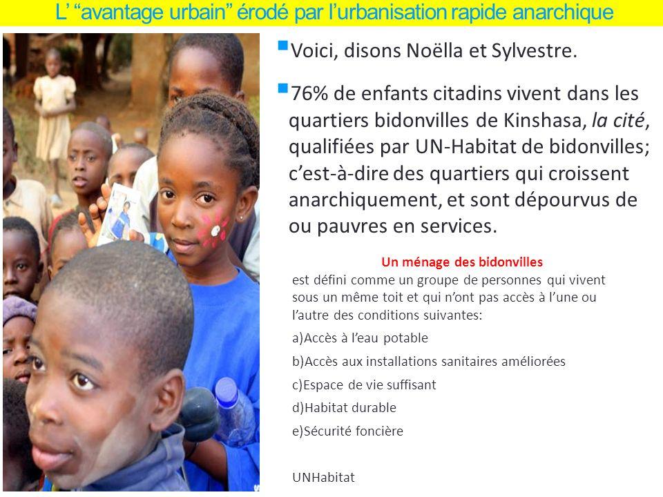 L avantage urbain érodé par lurbanisation rapide anarchique Voici, disons Noëlla et Sylvestre. 76% de enfants citadins vivent dans les quartiers bidon