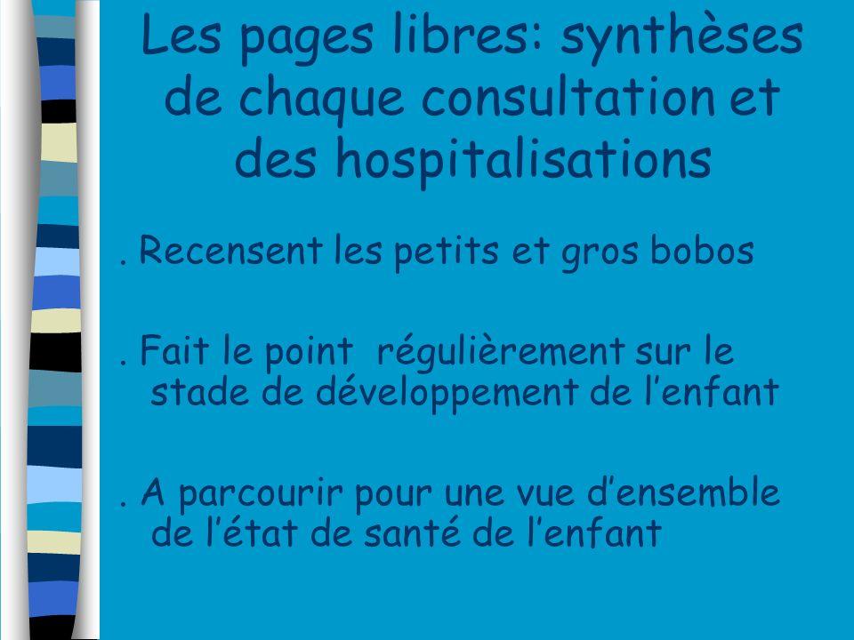 Les pages libres: synthèses de chaque consultation et des hospitalisations. Recensent les petits et gros bobos. Fait le point régulièrement sur le sta