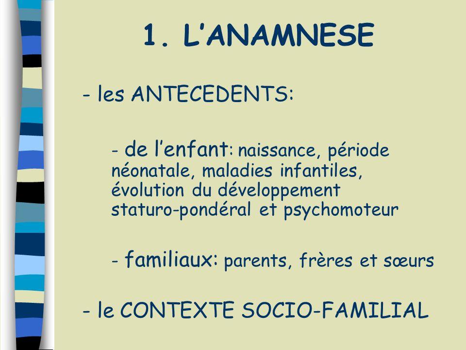 1. LANAMNESE - les ANTECEDENTS: - de lenfant : naissance, période néonatale, maladies infantiles, évolution du développement staturo-pondéral et psych