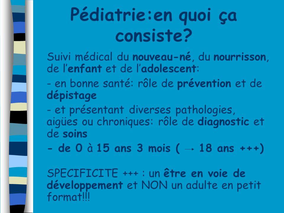 Pédiatrie:en quoi ça consiste? Suivi médical du nouveau-né, du nourrisson, de lenfant et de ladolescent: - - en bonne santé: rôle de prévention et de