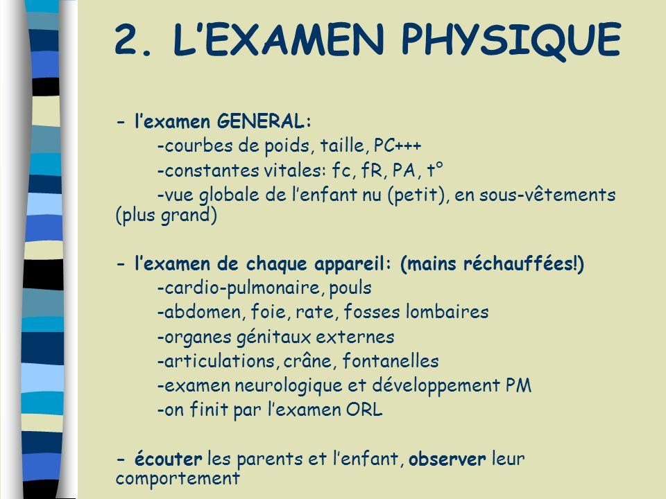 2. LEXAMEN PHYSIQUE - lexamen GENERAL: -courbes de poids, taille, PC+++ -constantes vitales: fc, fR, PA, t° -vue globale de lenfant nu (petit), en sou