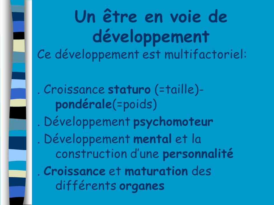Un être en voie de développement Ce développement est multifactoriel:. Croissance staturo (=taille)- pondérale(=poids). Développement psychomoteur. Dé
