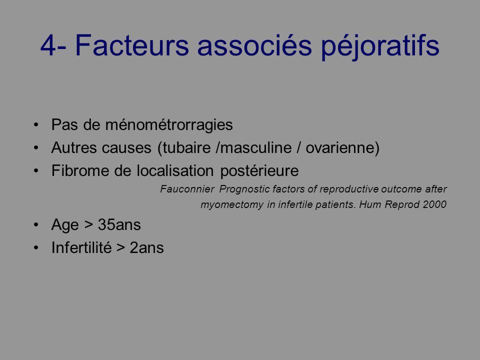 4- Facteurs associés péjoratifs Pas de ménométrorragies Autres causes (tubaire /masculine / ovarienne) Fibrome de localisation postérieure Fauconnier