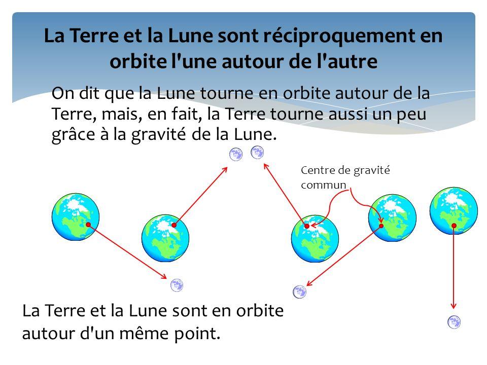 On dit que la Lune tourne en orbite autour de la Terre, mais, en fait, la Terre tourne aussi un peu grâce à la gravité de la Lune. La Terre et la Lune