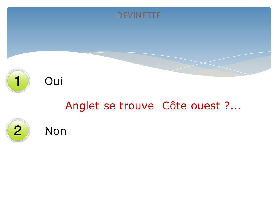Oui Non DEVINETTE Anglet se trouve Côte ouest ?...