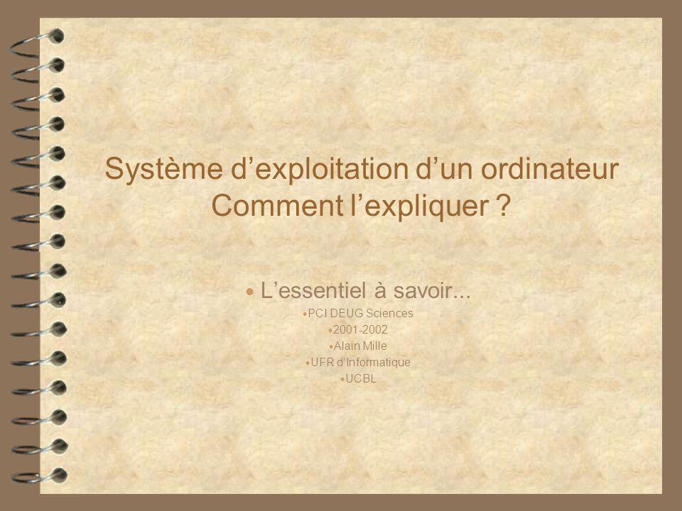 Système dexploitation dun ordinateur Comment lexpliquer ? Lessentiel à savoir... PCI DEUG Sciences 2001-2002 Alain Mille UFR dInformatique UCBL