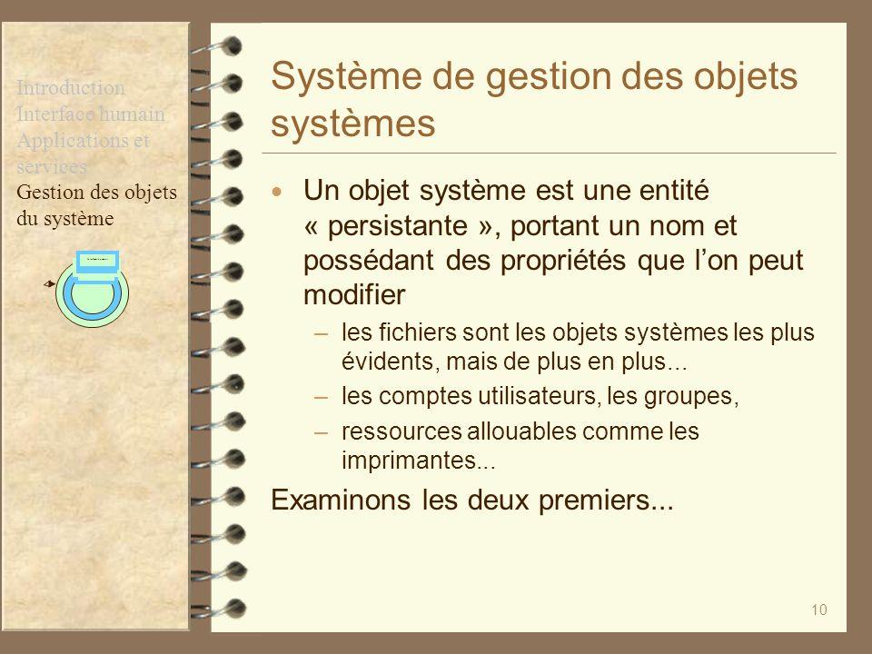 10 Système de gestion des objets systèmes Un objet système est une entité « persistante », portant un nom et possédant des propriétés que lon peut mod