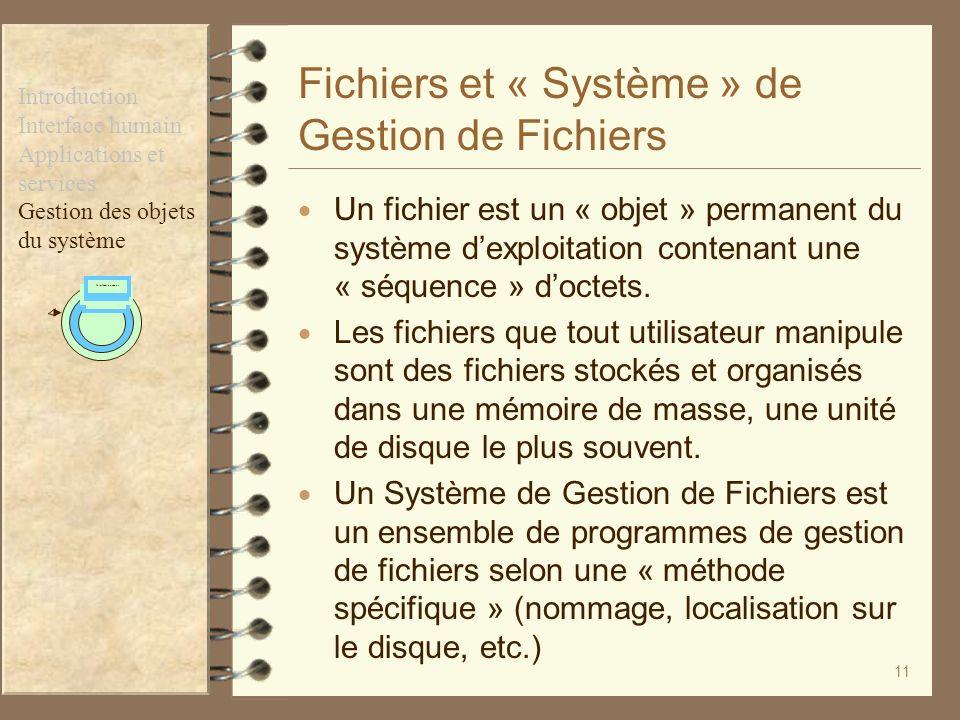 11 Fichiers et « Système » de Gestion de Fichiers Un fichier est un « objet » permanent du système dexploitation contenant une « séquence » doctets. L