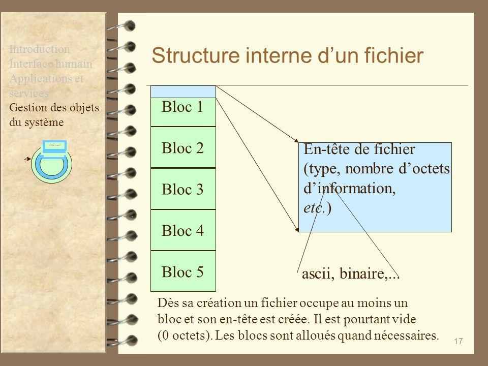 17 Structure interne dun fichier Gestion des Fichiers Applications et services Interfaces humains Introduction Interface humain Applications et servic