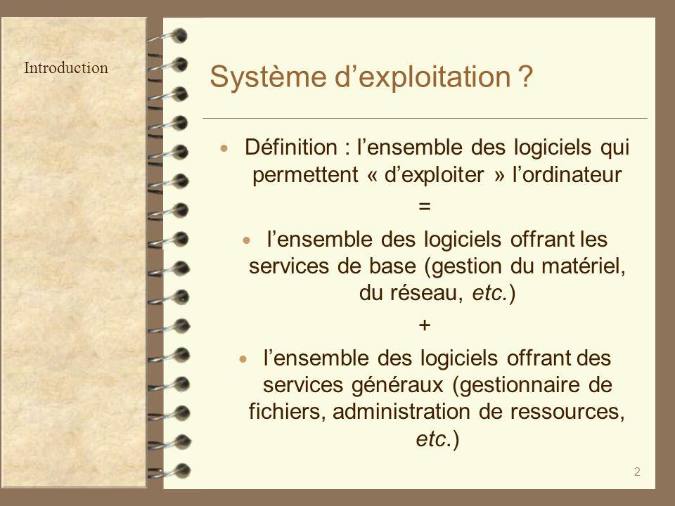 2 Système dexploitation ? Définition : lensemble des logiciels qui permettent « dexploiter » lordinateur = lensemble des logiciels offrant les service