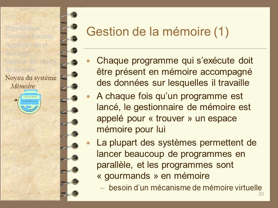 20 Gestion de la mémoire (1) Chaque programme qui sexécute doit être présent en mémoire accompagné des données sur lesquelles il travaille A chaque fo