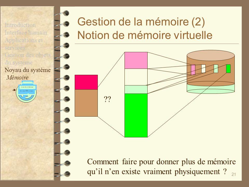 21 Gestion de la mémoire (2) Notion de mémoire virtuelle ?? Comment faire pour donner plus de mémoire quil nen existe vraiment physiquement ? Introduc