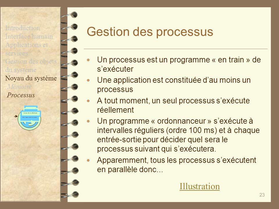 23 Gestion des processus Un processus est un programme « en train » de sexécuter Une application est constituée dau moins un processus A tout moment,