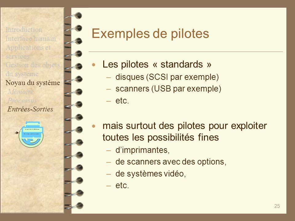 25 Exemples de pilotes Les pilotes « standards » –disques (SCSI par exemple) –scanners (USB par exemple) –etc. mais surtout des pilotes pour exploiter