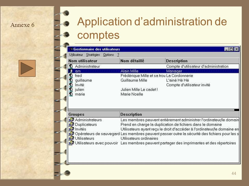 44 Application dadministration de comptes Annexe 6