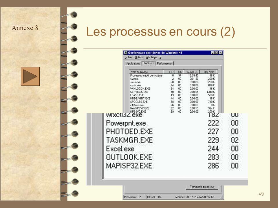 49 Les processus en cours (2) Annexe 8