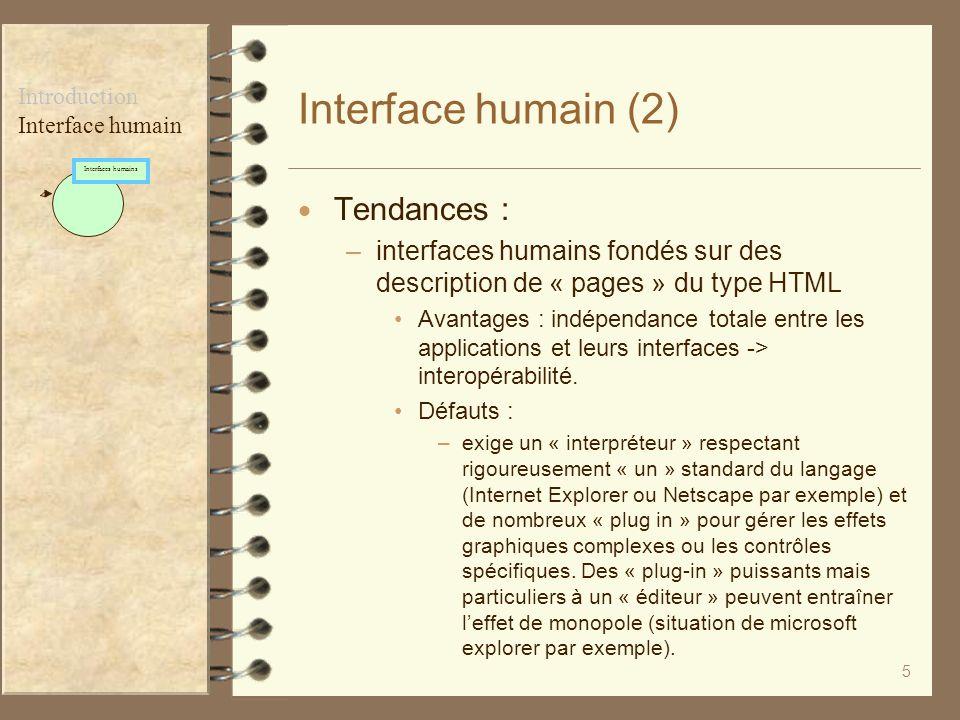 5 Interface humain (2) Tendances : –interfaces humains fondés sur des description de « pages » du type HTML Avantages : indépendance totale entre les