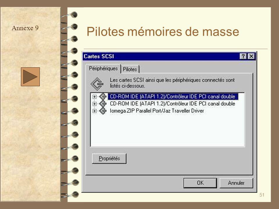 51 Pilotes mémoires de masse Annexe 9