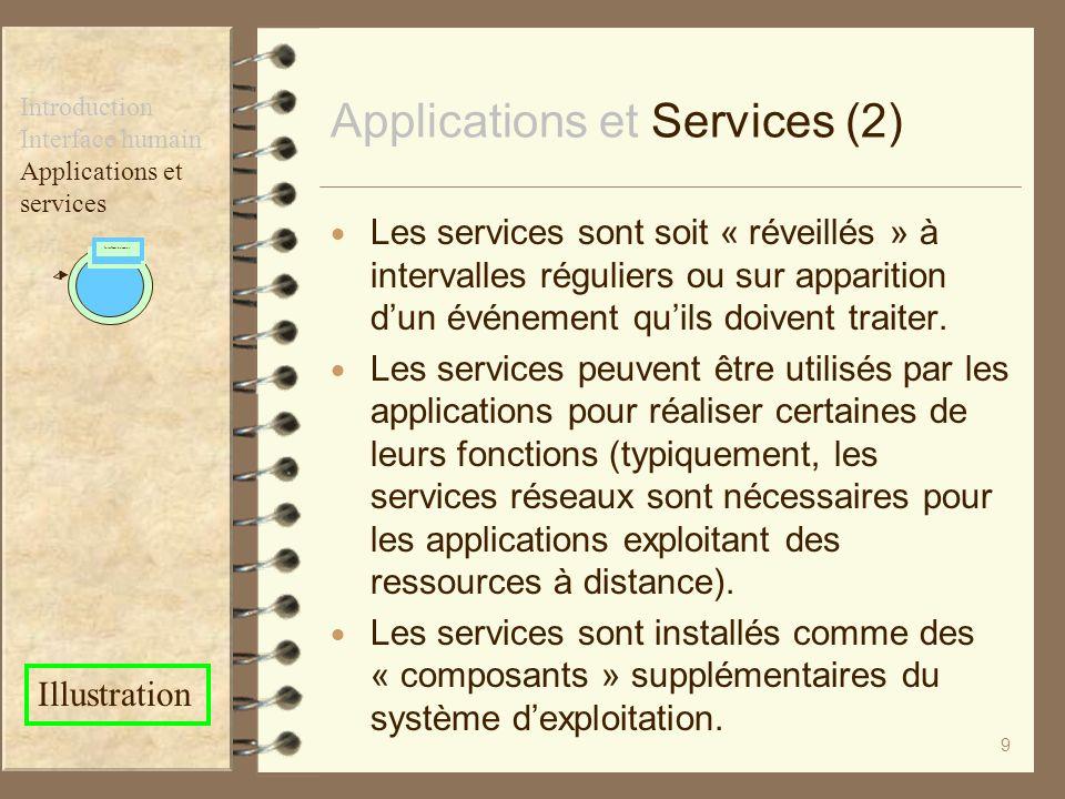 9 Les services sont soit « réveillés » à intervalles réguliers ou sur apparition dun événement quils doivent traiter. Les services peuvent être utilis